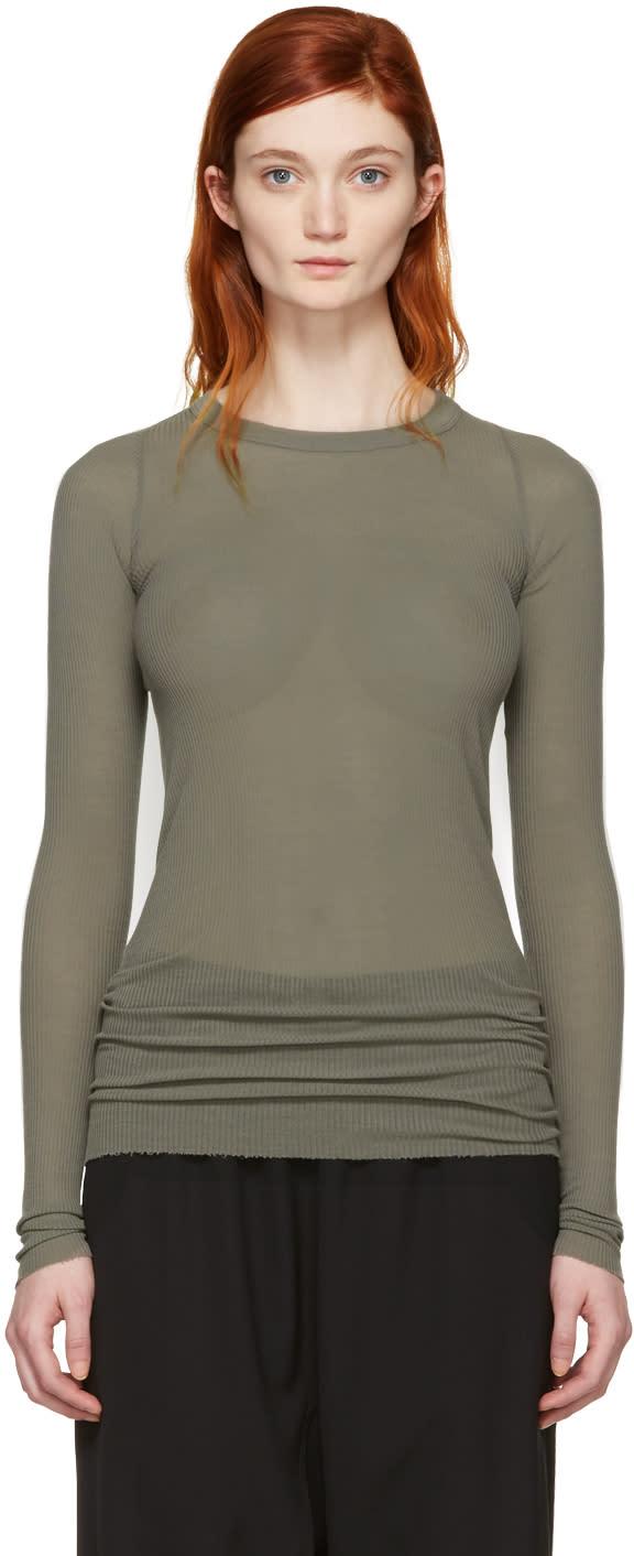 Rick Owens Grey Ribbed T-shirt