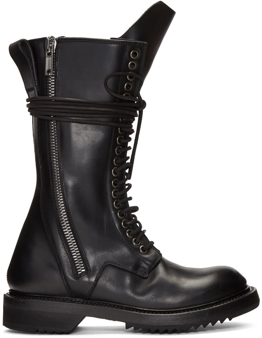 Rick Owens Black Double Zip Lace-up Boots