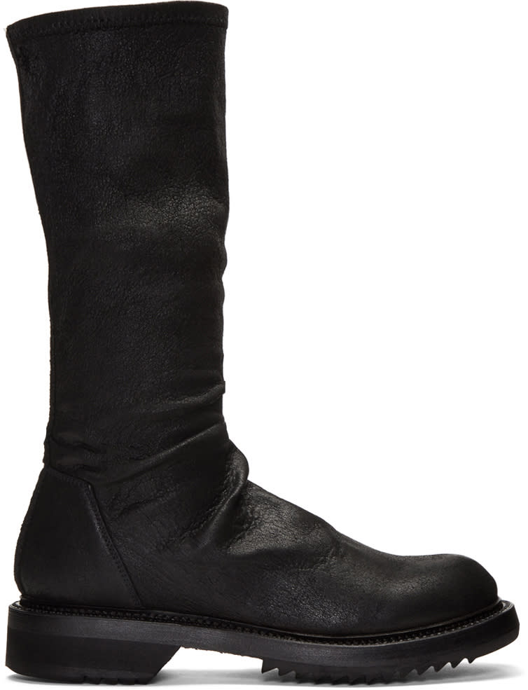 Rick Owens Black Sock Creeper Boots