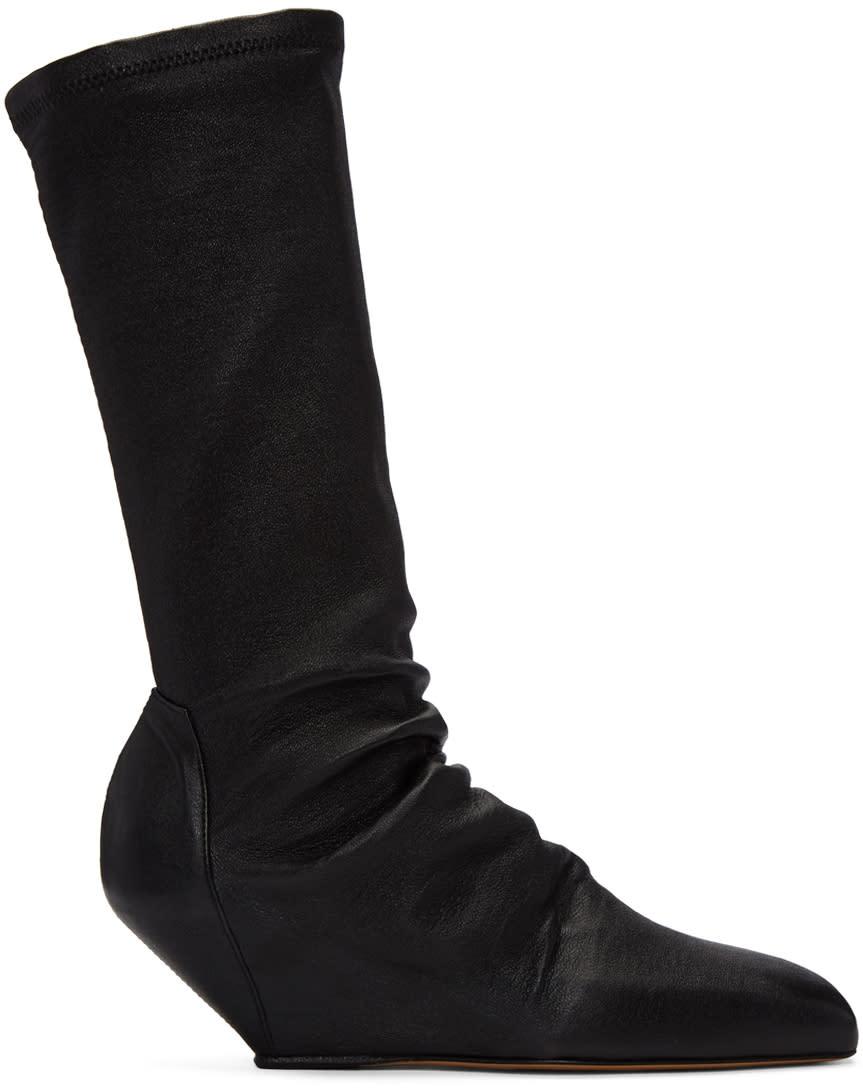 Rick Owens Black Sock Sliver Boots