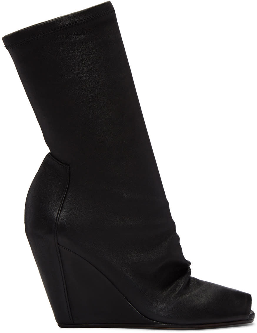 Rick OwensBlack Sock Wedge Boots