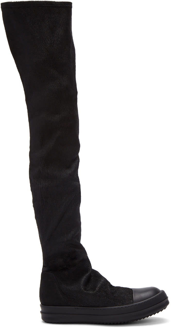 Rick Owens-Black Stocking Sneak Tall Boots