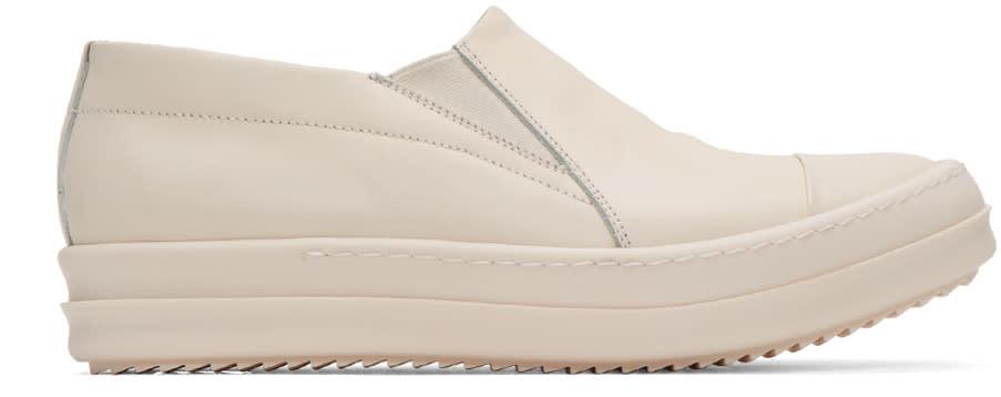 Rick Owens Ivory Boat Slip-on Sneakers