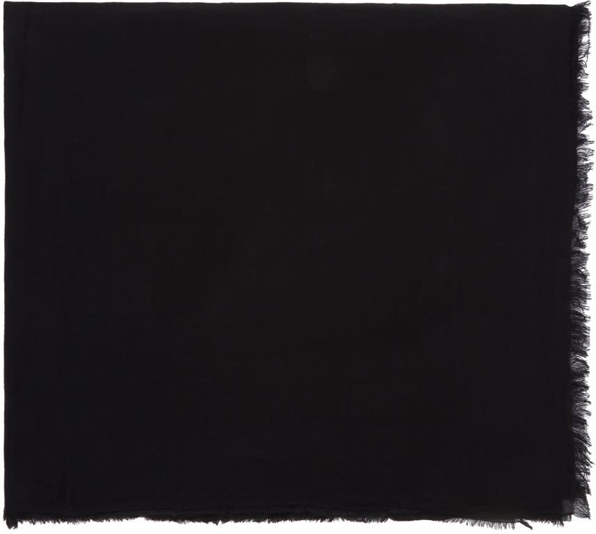 Rick Owens Black Cotton Scarf