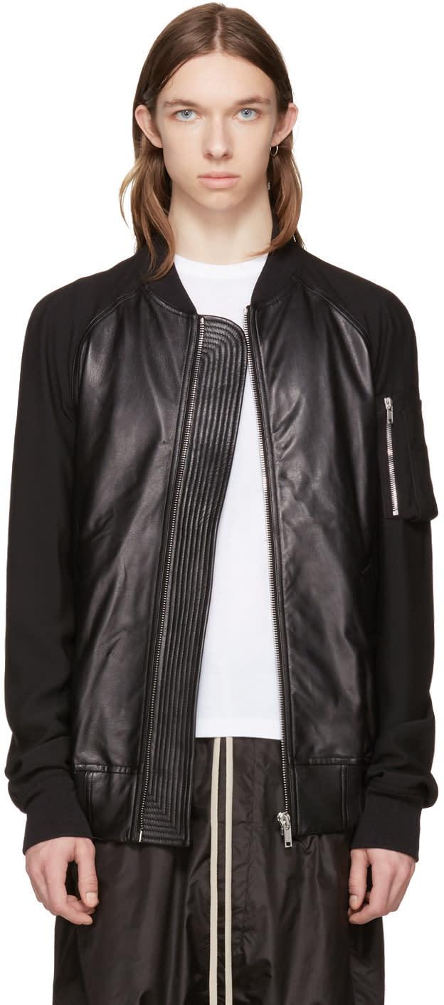 Rick Owens Black Raglan Bomber Jacket