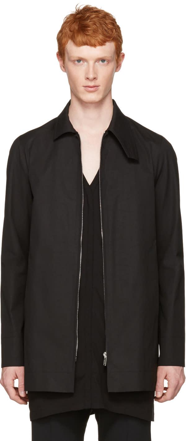 Rick Owens Black Patch Pea Coat