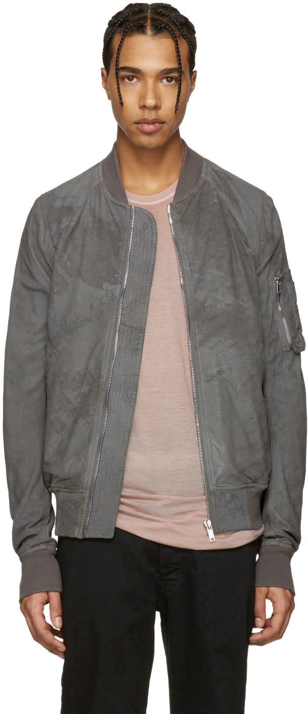 Rick Owens Grey Lambskin Bomber Jacket