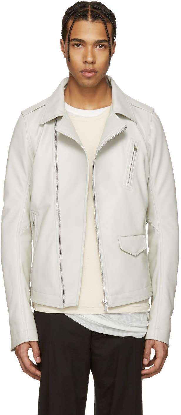 Rick Owens Ivory Leather Stooges Jacket