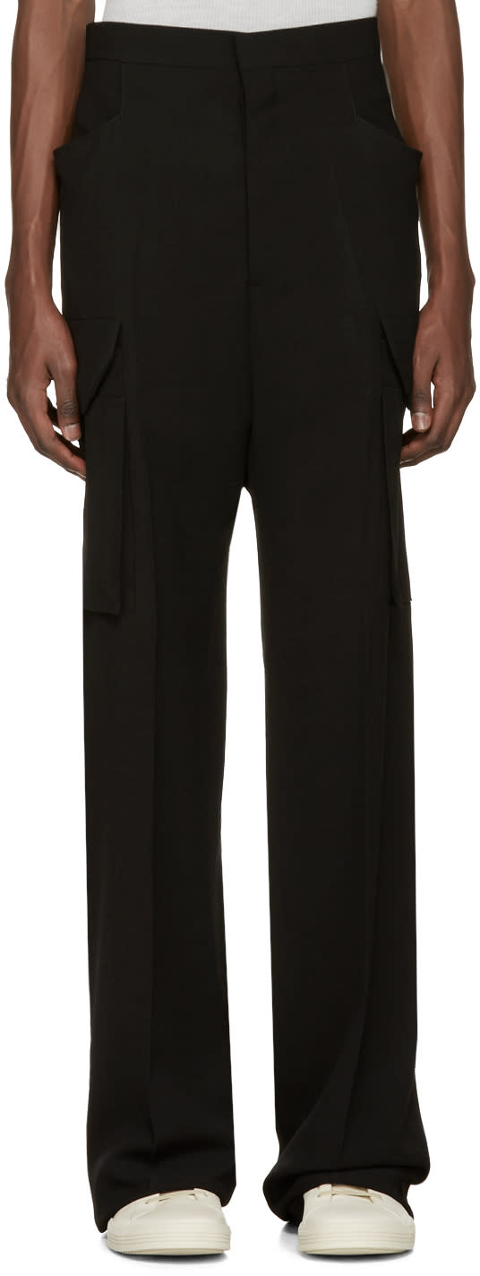 Rick Owens Black Tailored Flat Cargo Trousers