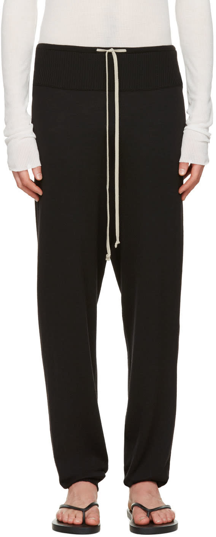 Rick Owens Black Long Drawstring Lounge Pants