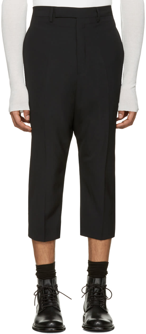 Rick Owens Black Extreme Cropped Trousers