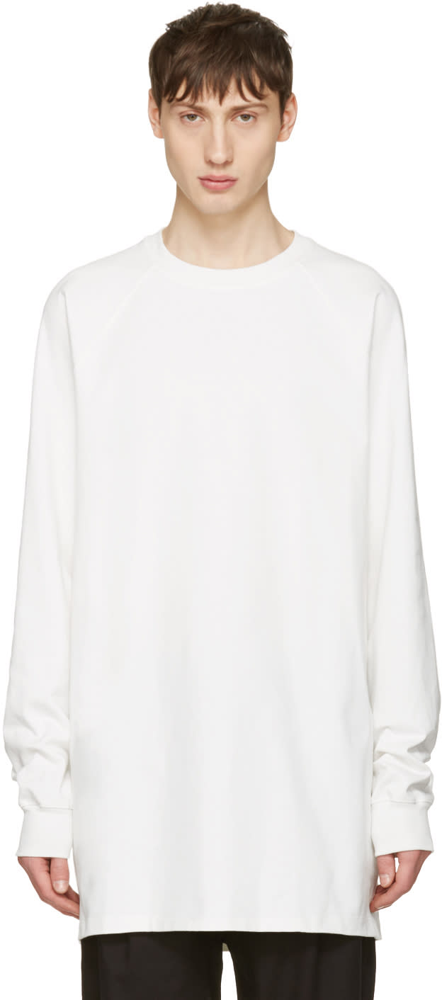 Rick Owens White Baseball Tee Pullover