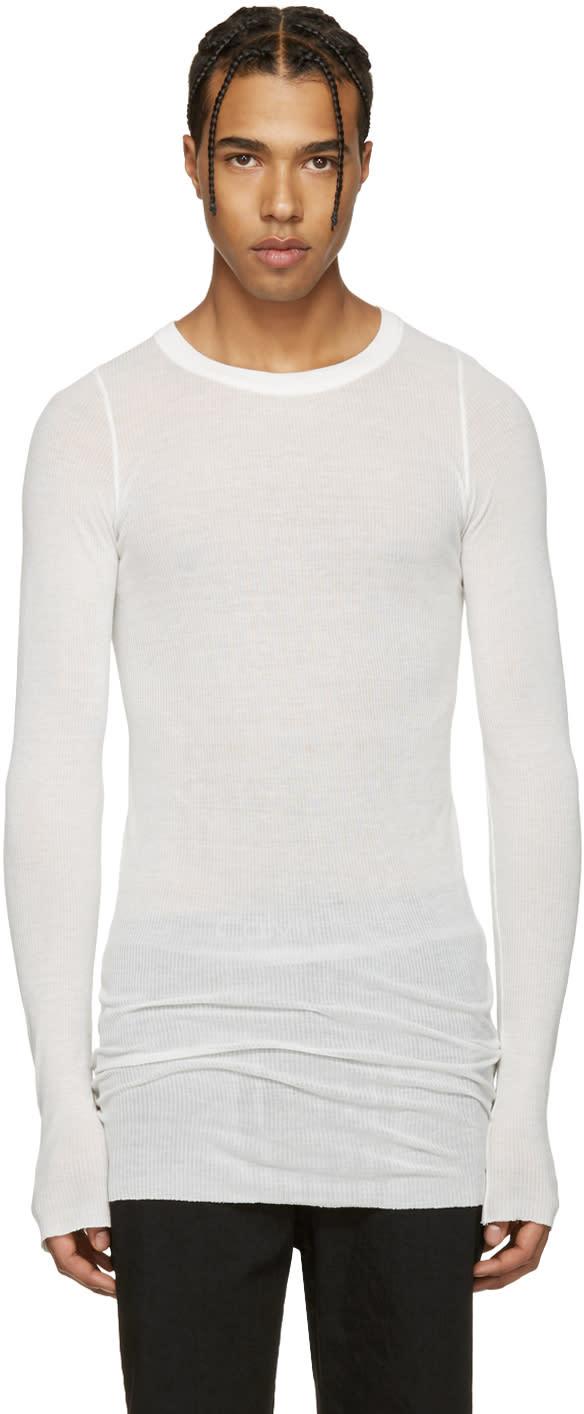 Rick Owens Ivory Ribbed T-shirt