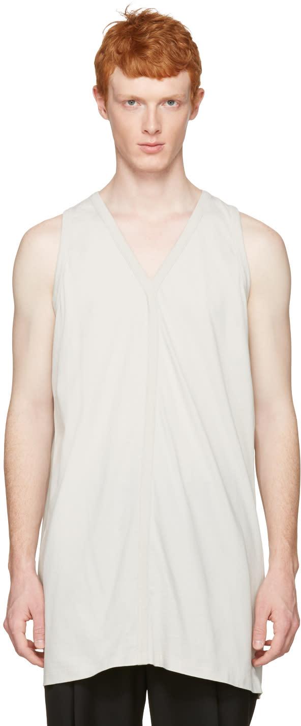 Rick Owens White Oversized V-neck Tank Top