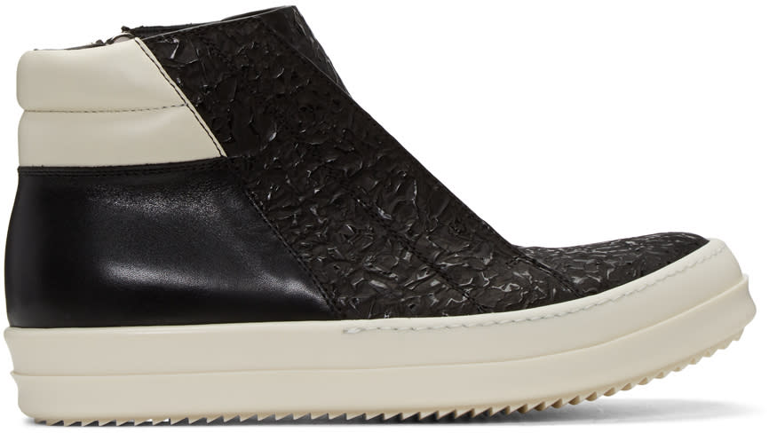 Rick Owens Black Island Dunk Combo High-top Sneakers