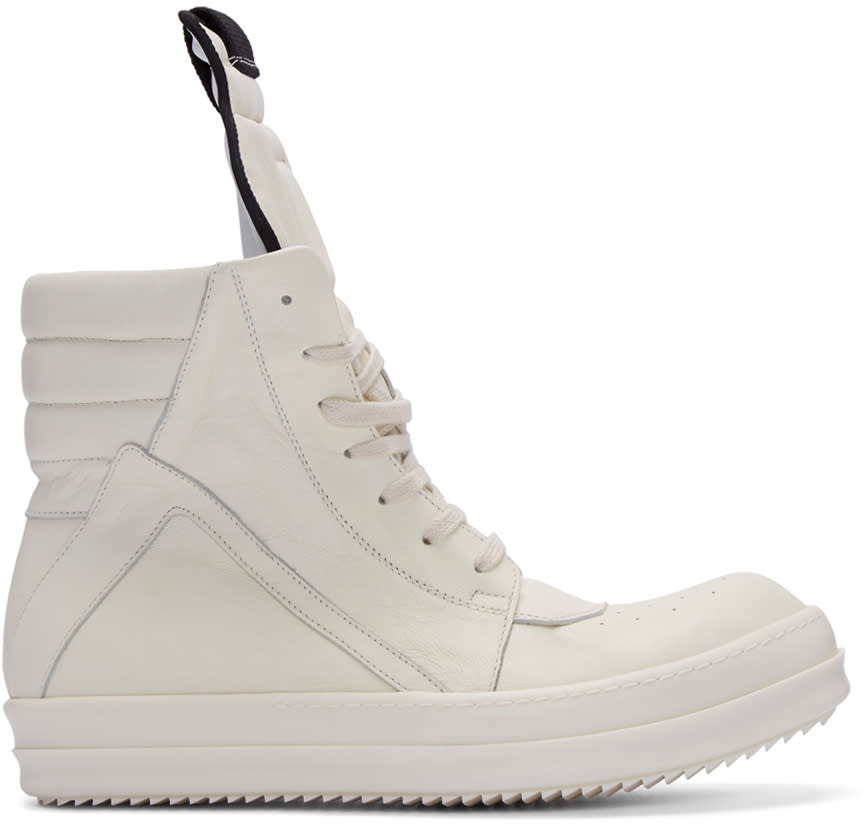 Rick Owens Ivory Geobasket High-top Sneakers