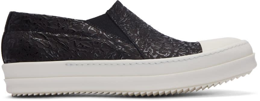 Rick Owens Black Textured Boat Slip-on Sneakers