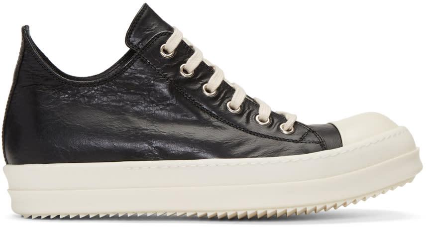 Rick Owens Black Distressed Low Sneakers