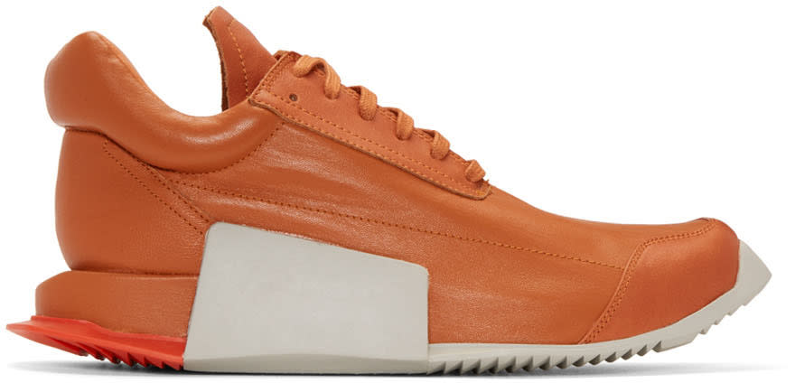 Rick Owens Orange Adidas Orginals Edition Leather Level Sneakers