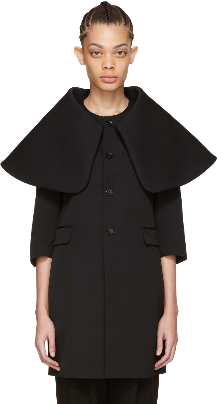 Comme Des Garcons Black Exaggerated Collar Coat
