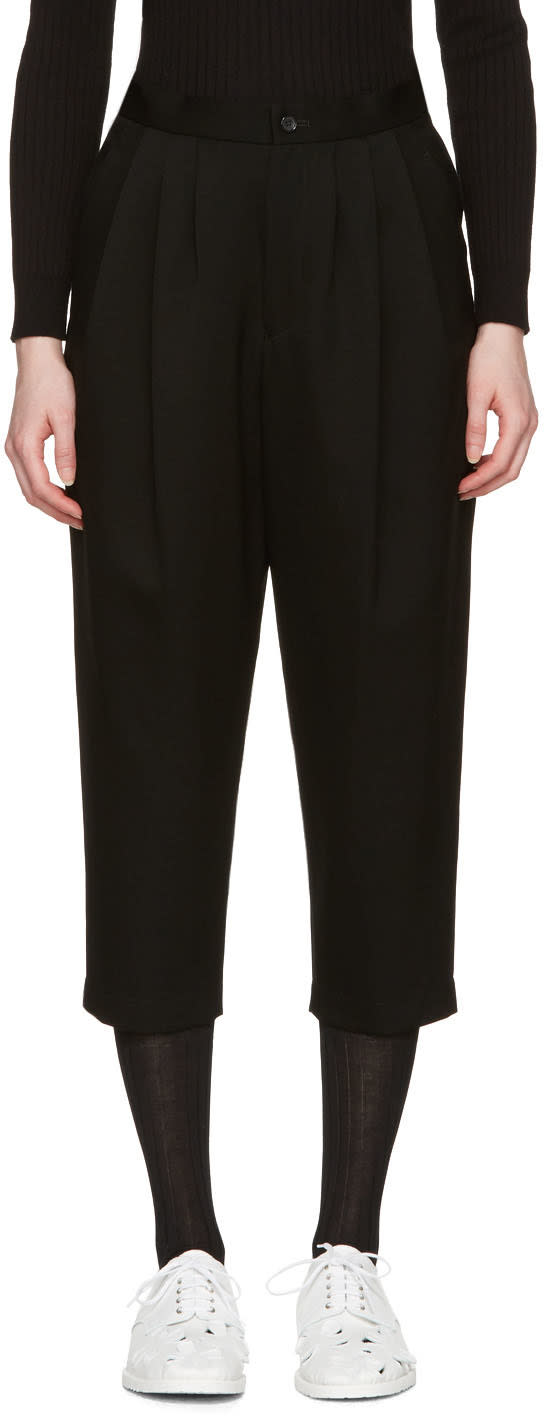 Comme Des Garcons Black Pleated Wool Trousers