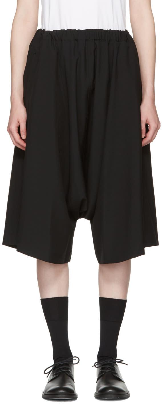 Comme Des Garcons Black Wool Shorts