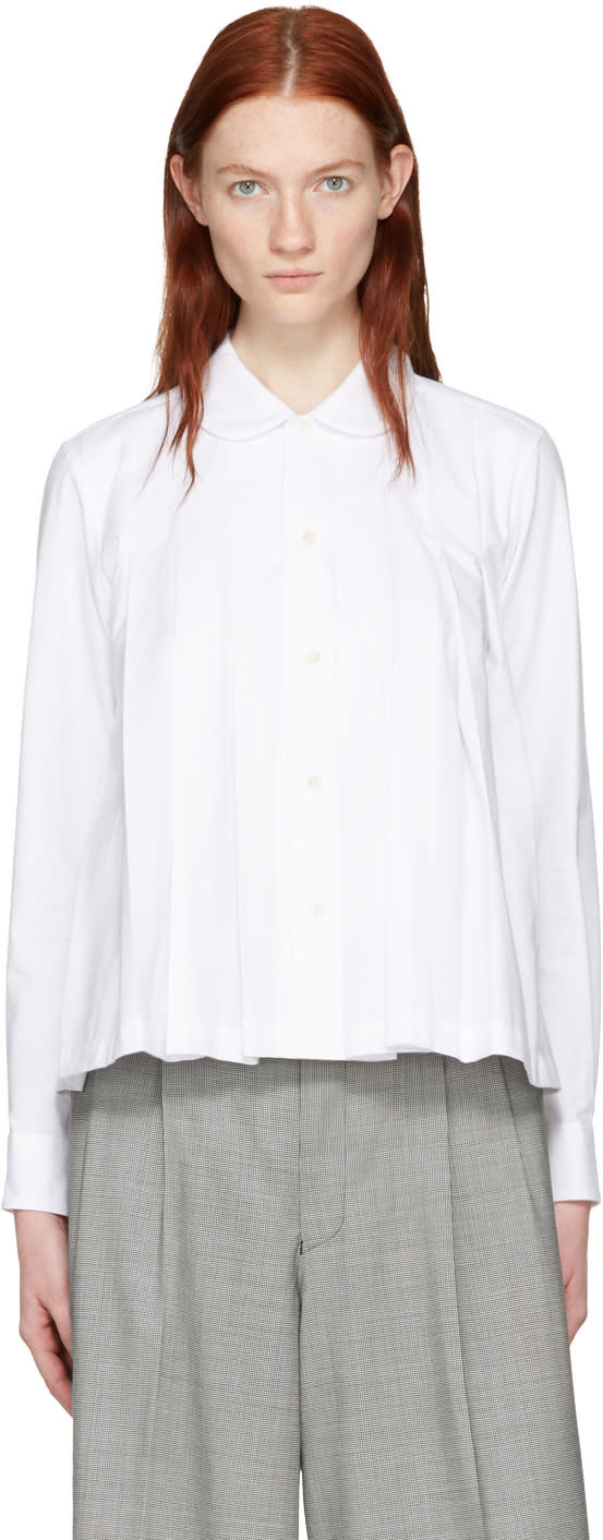 Comme Des Garcons White Pleated Shirt