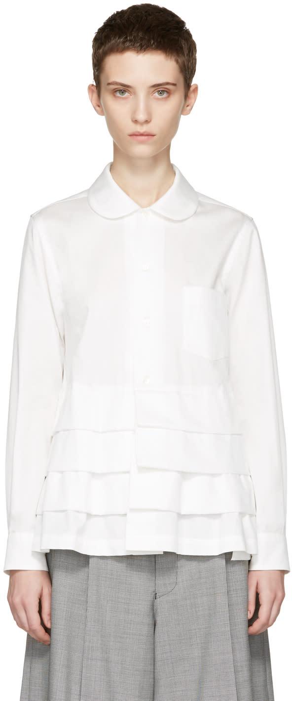 Comme Des Garcons White Ruffle Shirt