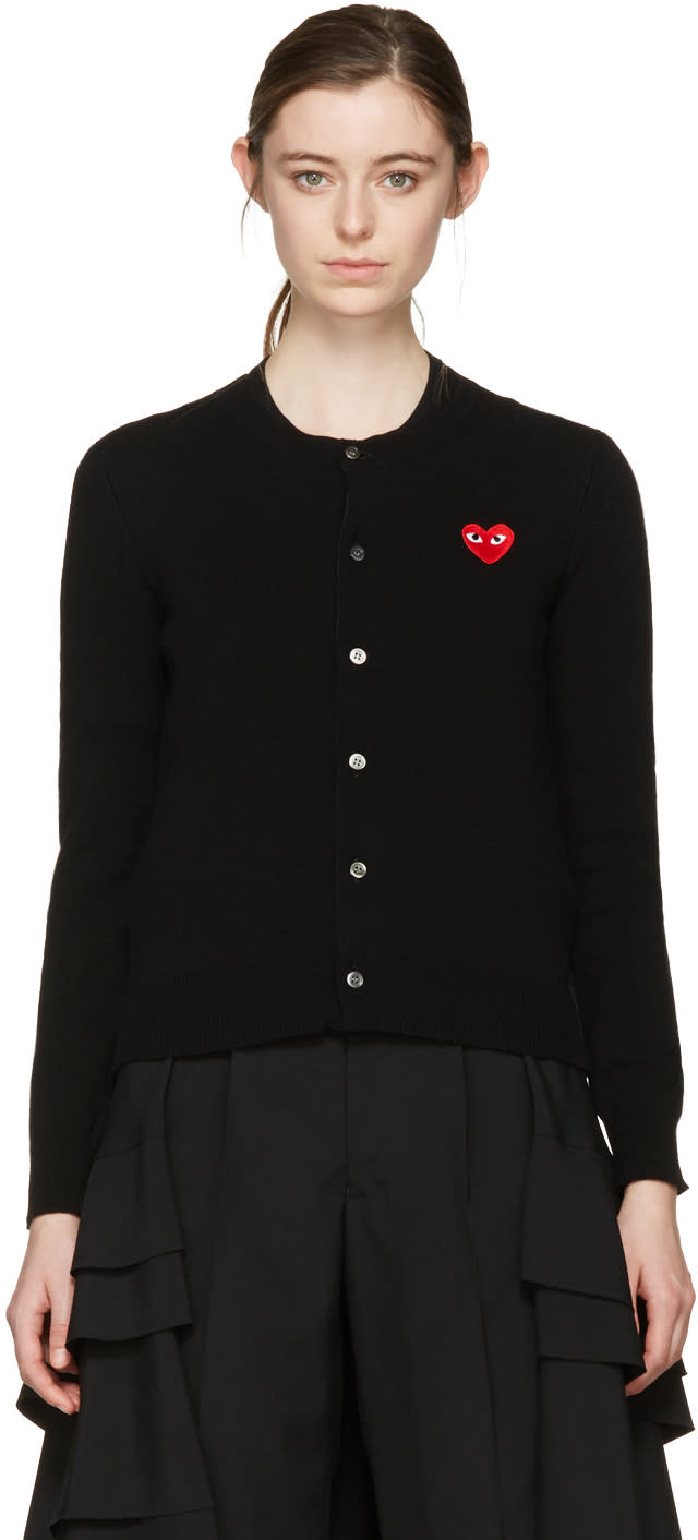 Comme Des Garcons Play Black Wool Heart Patch Cardigan