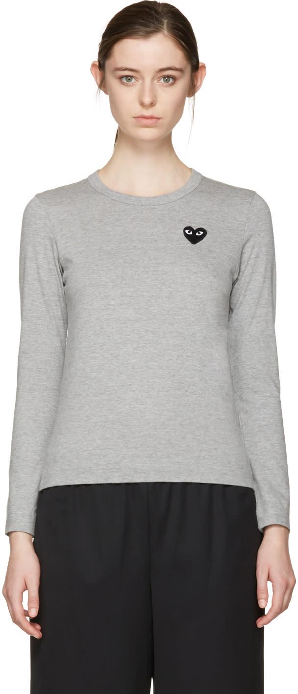 Comme Des Garçons Play Grey Heart Patch T-shirt