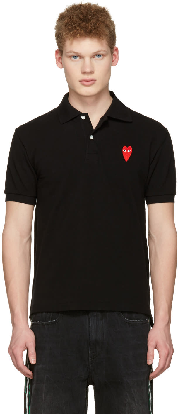 Comme Des Garçons Play Black Long Heart Patch Polo