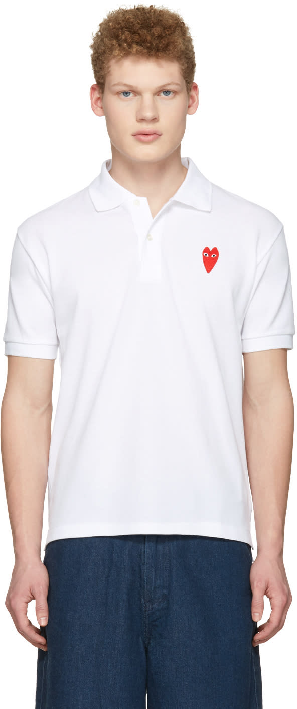 Comme Des Garçons Play White Long Heart Patch Polo