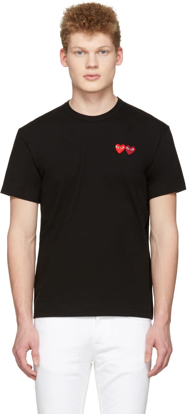 Image of Comme Des Garçons Play Black Double Hearts T-shirt
