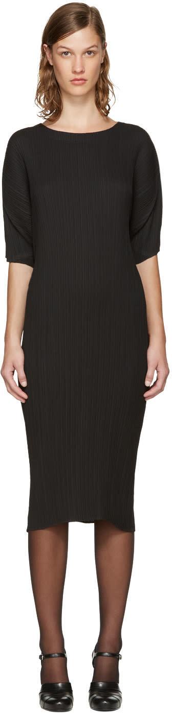 Jil Sander Black Plisse Dress