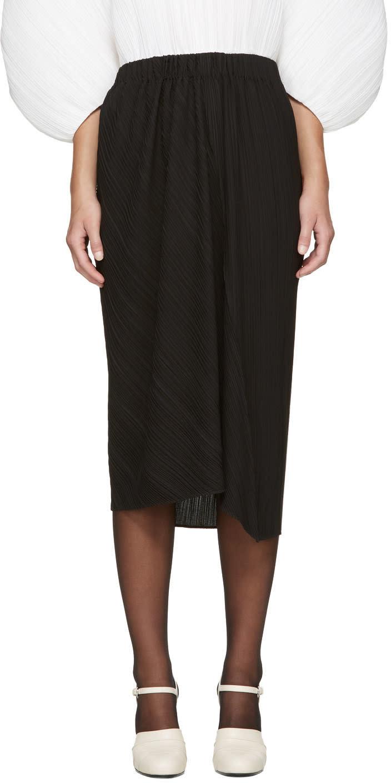 Jil Sander Black Plisse Skirt