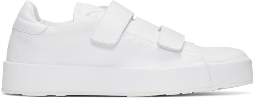 Jil Sander White Triple Velcro Sneakers