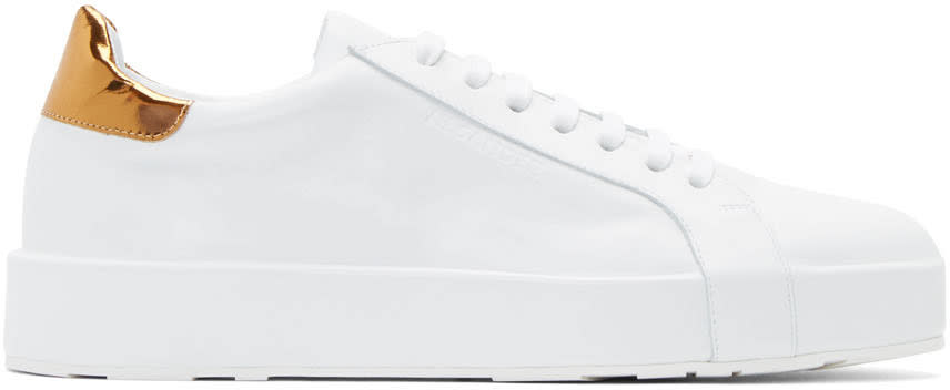 Jil Sander White and Gold Leather Sneakers
