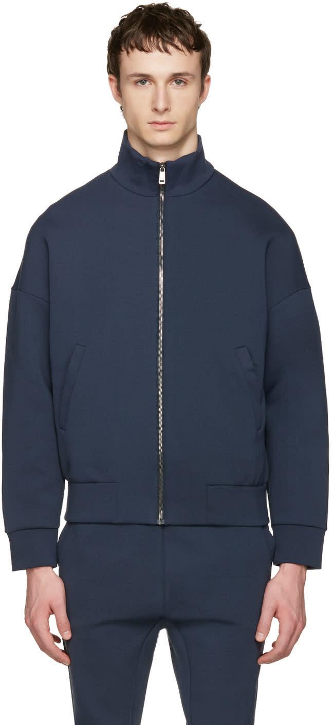 Jil Sander Navy Jersey Zip-up Pullover