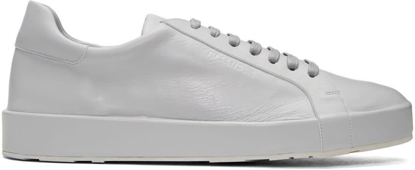 Jil Sander Grey Leather Sneakers