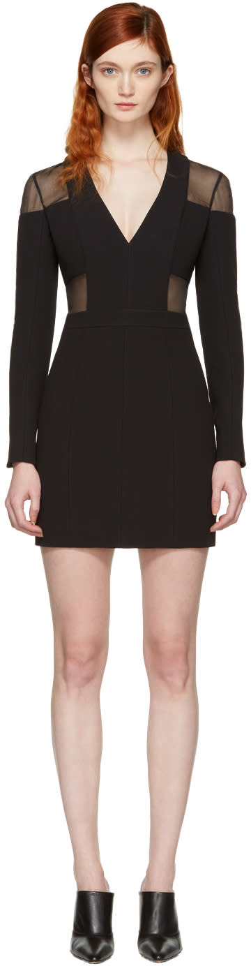 Balmain Black Panelled Deep V-neck Dress