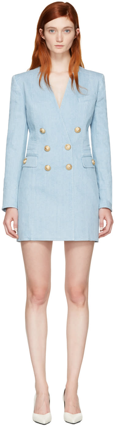 Balmain Blue Denim Blazer Dress