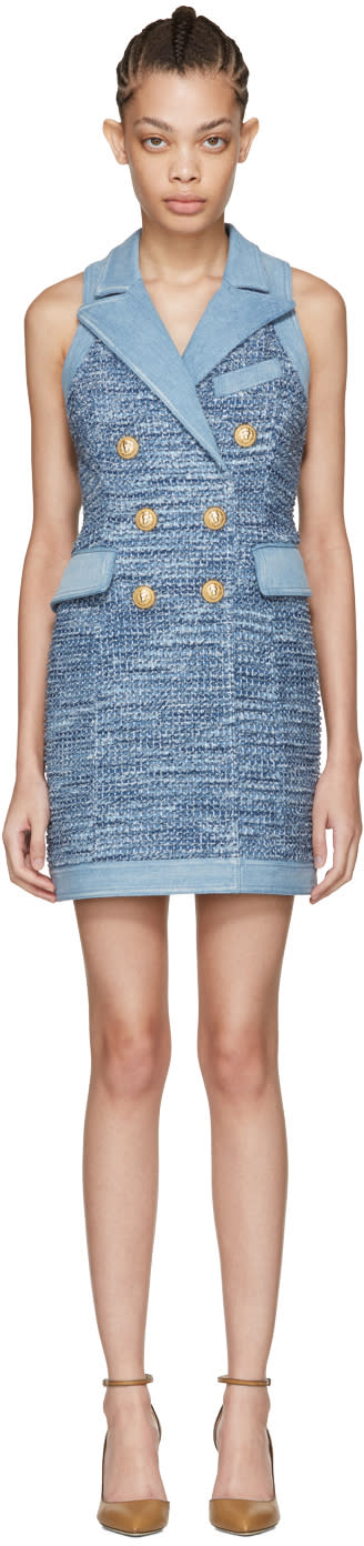 Balmain Blue Tweed and Denim Dress