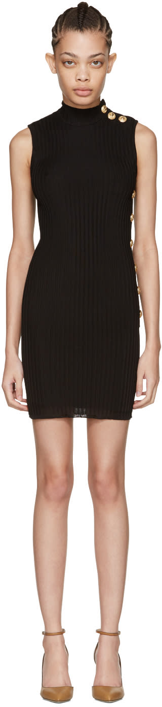 Balmain Black Sleeveless Turtleneck Dress