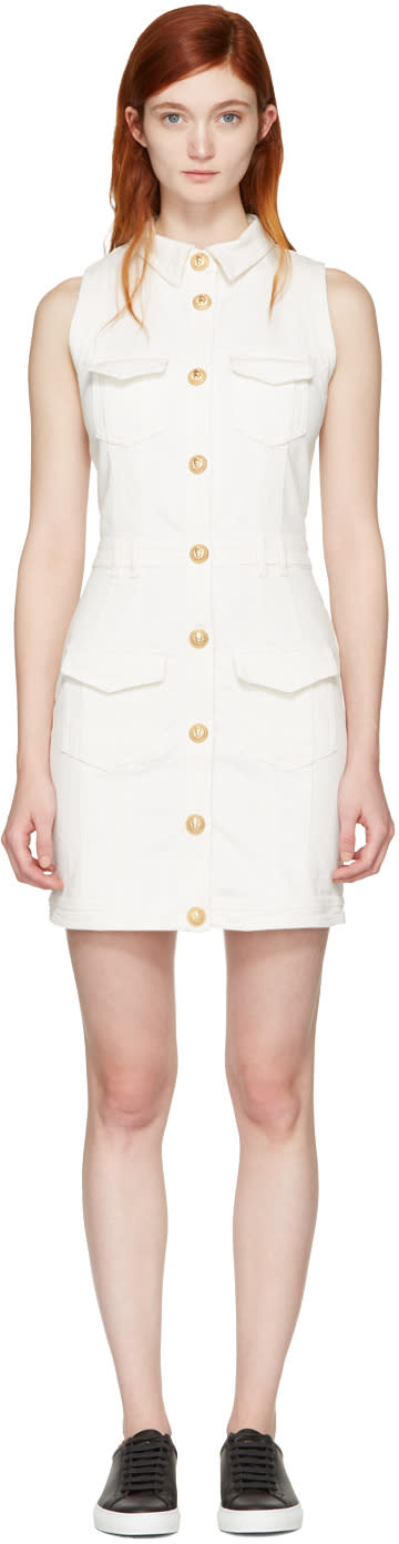 Balmain White Denim Four Pockets Dress