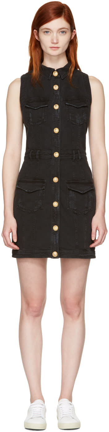 Balmain Black Denim Four Pockets Dress