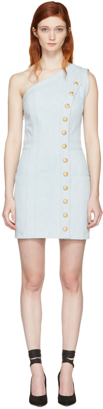 Balmain Blue Denim Single-shoulder Dress