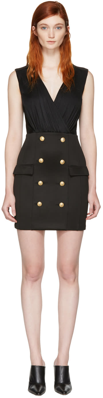 Balmain Black Gold Buttons Dress