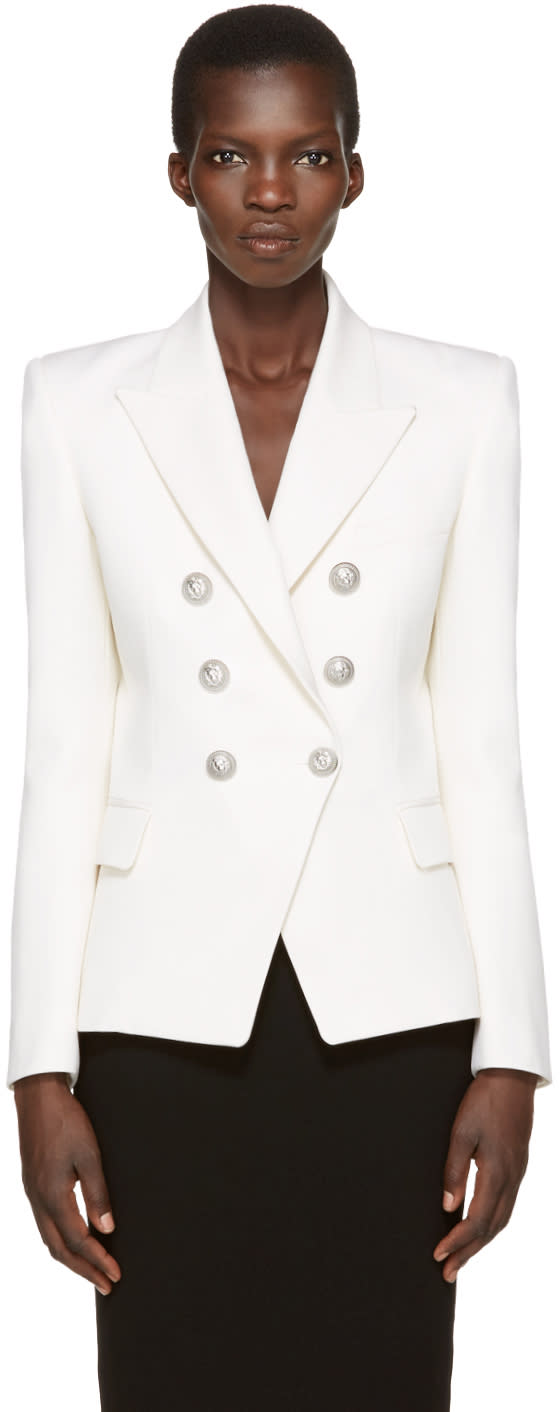 Balmain Ivory Classic Six-button Blazer