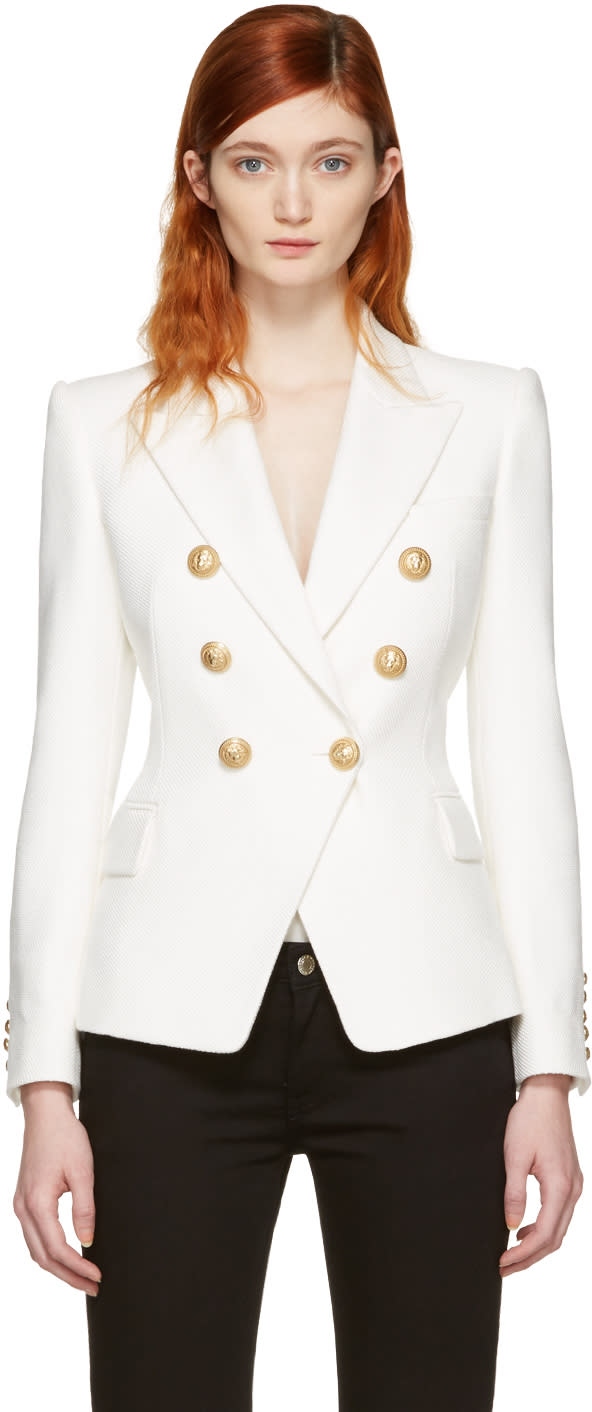 Balmain White Double-breasted Blazer