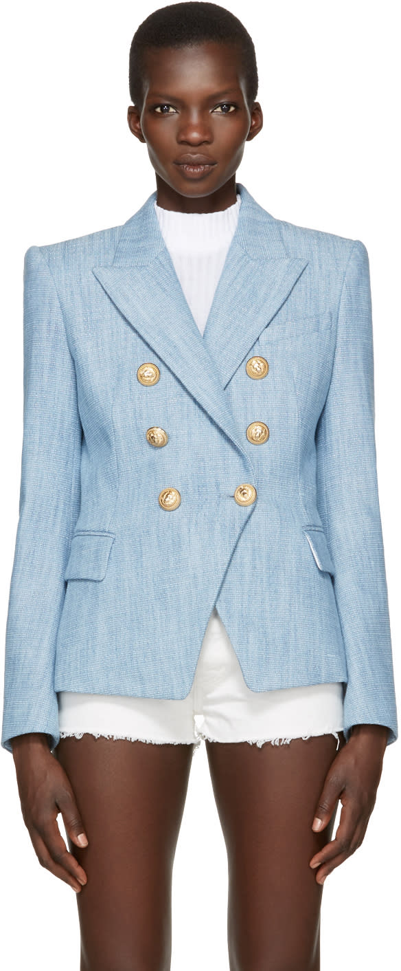 Balmain Blue Tweed Six-button Blazer